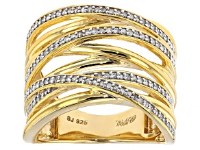 .25ctw Round White Diamond 18k Yellow Gold Over Sterling Silver Crossover Ring