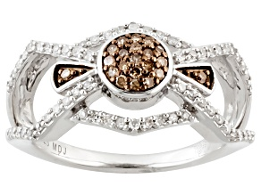 Champagne And White Diamond Ring .35ctw