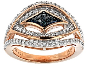 18k Rose Gold Over Silver Blue And White Diamond Ring .40ctw