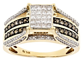 Champagne And White Diamond 14k Yellow Gold Ring 1.15ctw