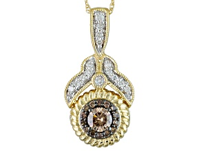 Champagne And White Diamond 14k Yellow Gold Pendant .50ctw
