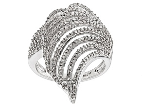 White Diamond Sterling Silver Ring .65ctw