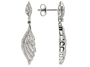 Diamond Rhodium Over Sterling Silver Earrings .50ctw