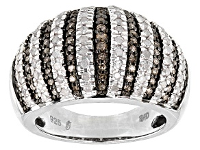 Rhodium Over Sterling Silver Champagne And Diamond Ring 1.03ctw