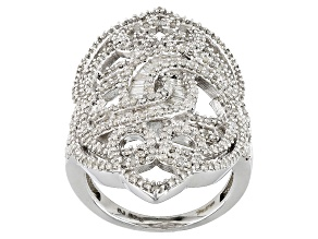 Rhodium Over Sterling Silver Diamond Ring 1.65ctw