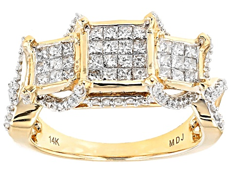 White Diamond 14k Yellow Gold Ring 1.00ctw
