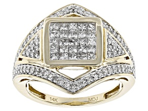 White Diamond 14k Yellow Gold Ring .80ctw