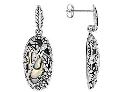 Multi-Color Abalone Shell Sterling Silver Dragonfly Design Earrings