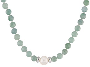 Green Jadeite Bead Sterling Silver Necklace