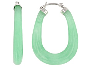 Green Jadeite Sterling Silver Hoop Earrings