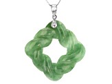 Green Jadeite Sterling Silver Pendant With Chain