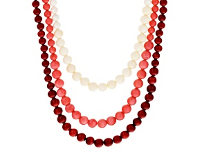 Multi Color Coral Sterling Silver Necklace