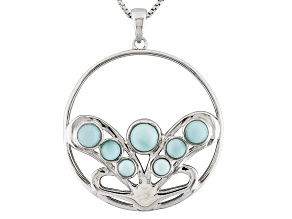 Blue Larimar Sterling Silver Circle Pendant With Chain