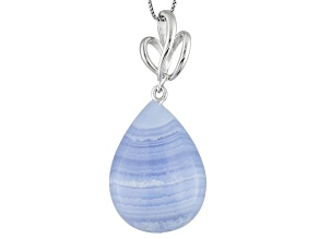 Blue Lace Agate Sterling Silver Pendant With Chain.