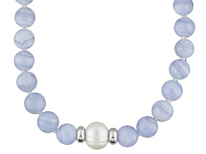 Blue Lace Agate Bead Sterling Silver Necklace