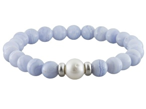 Blue Lace Agate Bead Sterling Silver Stretch Bracelet