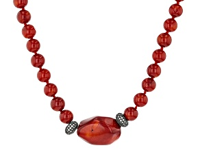 Red Coral Sterling Silver Necklace .37ctw