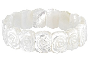 White Mother Of Pearl Hand Carved Rose Bracelet