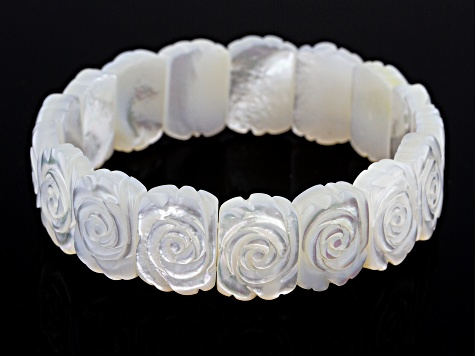 White Mother Of Pearl Carved Rose Bracelet