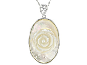 White Mother Of Pearl Rhodium Over Sterling Silver Pendant With Chain