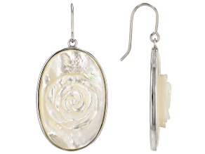 White Mother Of Pearl Hand Carved Rose Rhodium Over Sterling Silver Earrings