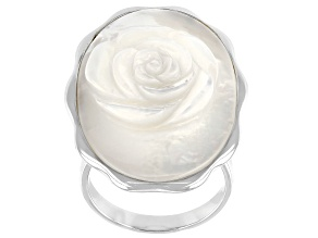 White Hand Carved Mother Of Pearl Rose Sterling Silver Ring