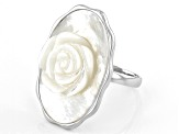 White Carved Mother Of Pearl Rose Sterling Silver Ring