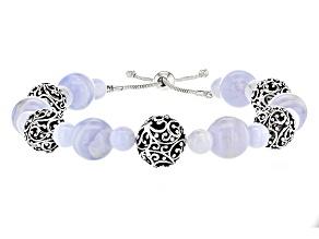 Blue Lace Agate Sterling Silver Bead Bracelet
