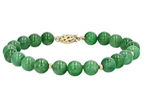 Green Jadeite 14k Gold Bracelet