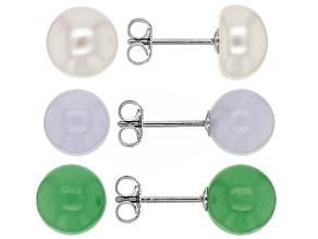 Multi Gem Sterling Silver Stud Earrings Set Ov 3 Pairs
