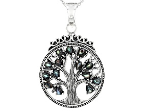 Multicolor Abalone Shell Tree Of Life Sterling Silver Enhancer With Chain