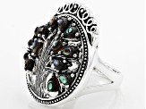Multicolor Abalone Shell Tree Of Life Sterling Silver Ring