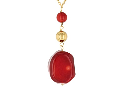 Red Coral 18k Yellow Gold Over Sterling Silver Necklace