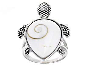 White Shiva Shell Silver Turtle Ring