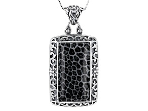 Black Indonesian Coral Silver Pendant With Chain