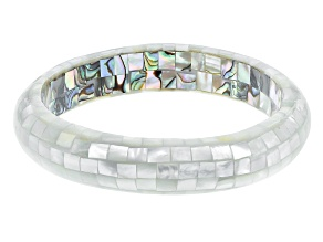 Multicolor Mosaic Mother Of Pearl Bangle Bracelet
