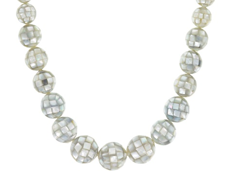 Multicolor Mother Of Pearl Bead Silver Necklace