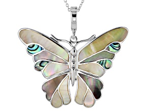 Yellow Mother Of Pearl Silver Butterfly Enhancer With Chain