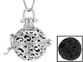 Black Lava Stone Rhodium Over Silver Locket With Chain