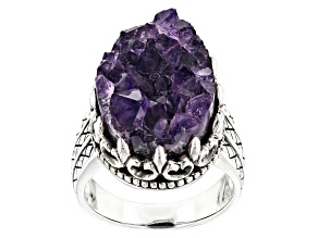 Purple Amethyst Geode Sterling Silver Ring