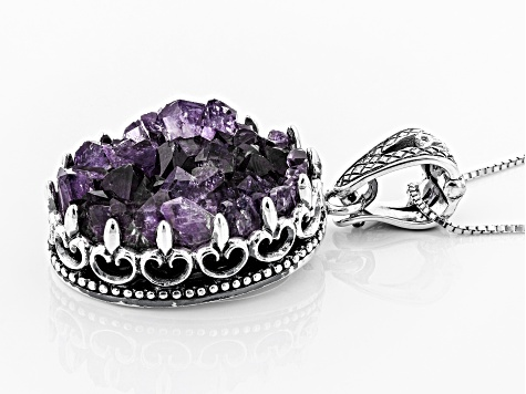 Purple Amethyst Geode Sterling Silver Enhancer With Chain