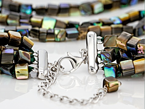 Multicolor Abalone Shell Silver Necklace
