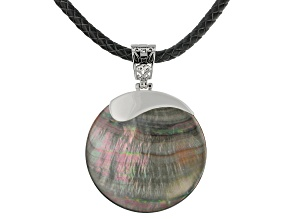 "Black Mother Of Pearl Rhodium Over Silver Enhancer With 20"" Cord"