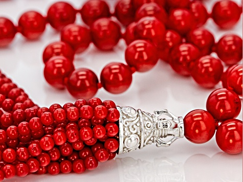 Red Coral Rhodium Over Silver Tassel Necklace