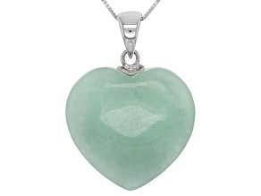 Green Jadeite Silver Heart Pendant With Chain