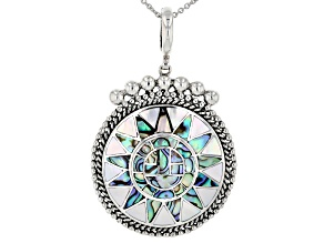Pacific Style™ inlaid Abalone And Mother Of Pearl Sterling Silver Enhancer With Chain