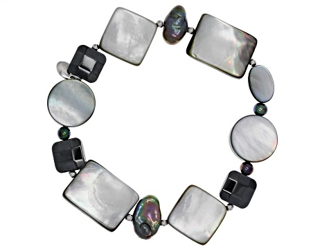 Multicolor Cultured Freshwater Pearl Rhodium Over Silver Stretch Bracelet Set