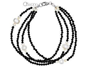 Black Spinel Rhodium Over Silver Multi-Strand Bracelet Approximately 42.00ctw