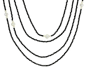 Black Spinel Rhodium Over Silver Multi-Strand Necklace Approximately 192.00ctw