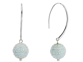 Green Jadeite Bead Sterling Silver Earrings